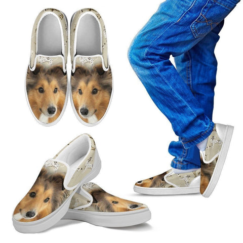 Shetland Sheepdog Print Slip Ons For Kids - Express Shipping-Paww-Printz-Merchandise