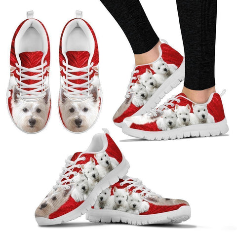 West Highland White Terrier Print Sneakers For Women- Free Shipping-Paww-Printz-Merchandise