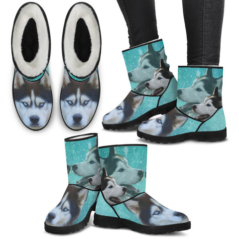Siberian Husky Print Faux Fur Boots For Women-Free Shipping