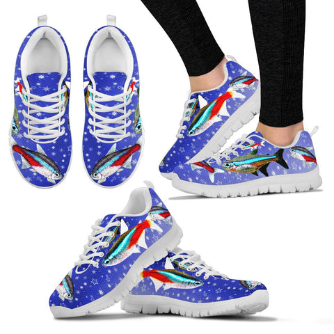 Neon Tetra Fish On Blue Print Christmas Running Shoes For Women- Free Shipping