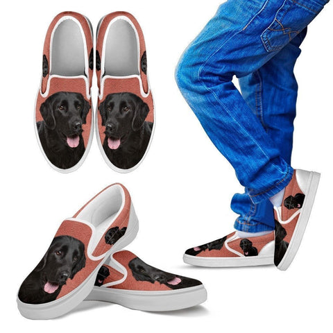 Flat Coated Retriever Dog Print Slip Ons For Kids-Express Shipping-Paww-Printz-Merchandise