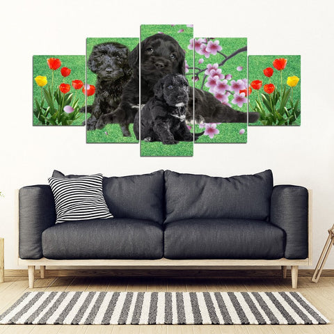 Portuguese Water Dog Print-5 Piece Framed Canvas- Free Shipping-Paww-Printz-Merchandise
