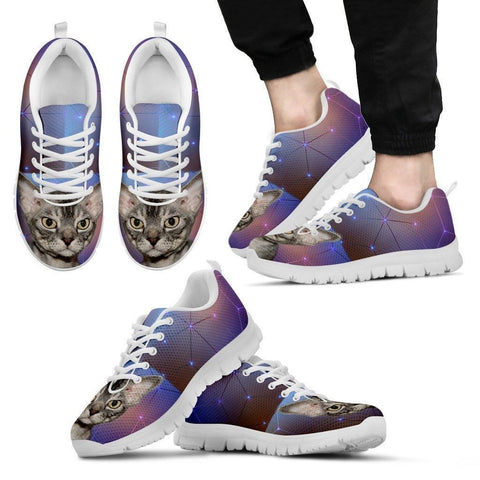 Devon Rex Cat Print (White/Black) Running Shoes For Men-Free Shipping-Paww-Printz-Merchandise