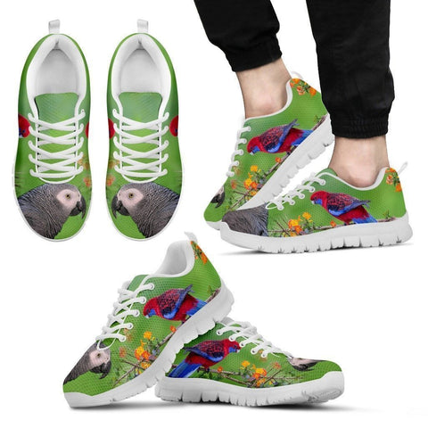 African Grey Parrot Print Running Shoes For Men-Free Shipping-Paww-Printz-Merchandise