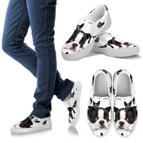 Boston Terrier Print Slip Ons Shoes For Women- Express Shipping-Paww-Printz-Merchandise