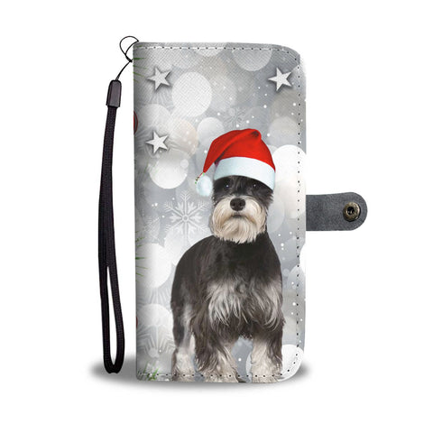 Miniature Schnauzer On Christmas Print Wallet Case-Free Shipping