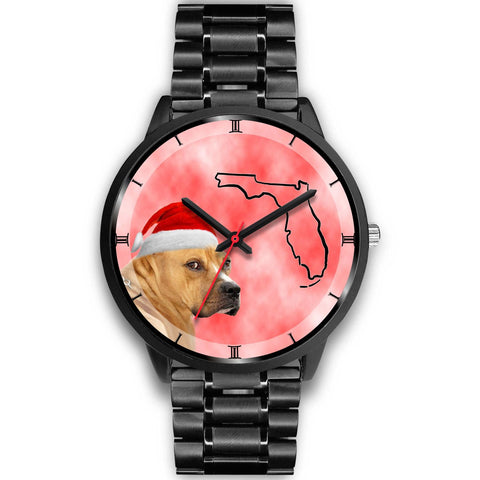 Staffordshire Bull Terrier On Christmas Florida Wrist Watch-Free Shipping