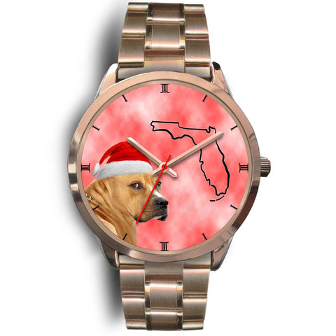 Staffordshire Bull Terrier On Christmas Florida Golden Wrist Watch-Free Shipping