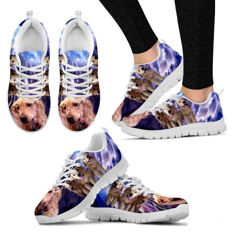 Golden Retriever With Glass Print Running Shoe For Women- Free Shipping-Paww-Printz-Merchandise