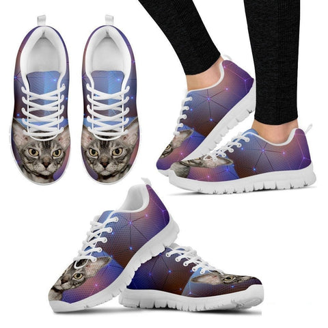 Devon Rex Cat Print (White/Black) Running Shoes For Women-Free Shipping-Paww-Printz-Merchandise