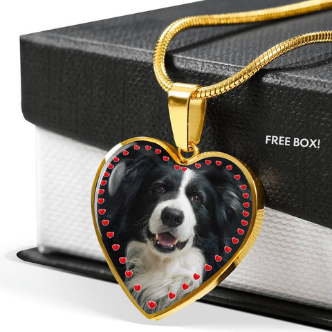 Border Collie Print Heart Charm Necklace-Free Shipping