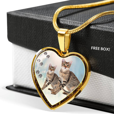 Savannah Cat Print Heart Charm Necklaces-Free Shipping