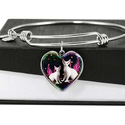 Devon Rex Cat Print Heart Pendant Bangle-Free Shipping
