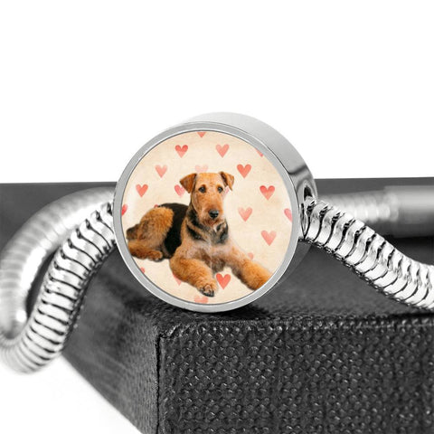 Airedale Terrier Print Luxury Circle Charm Bracelet-Free Shipping