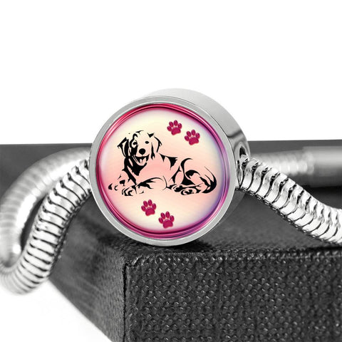 Golden Retriever Dog Print Circle Charm Steel Bracelet-Free Shipping