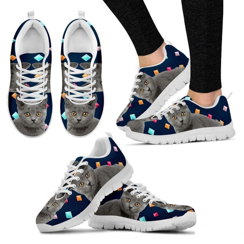 Chartreux Cat Print (White/Black) Running Shoes For Women-Free Shipping-Paww-Printz-Merchandise