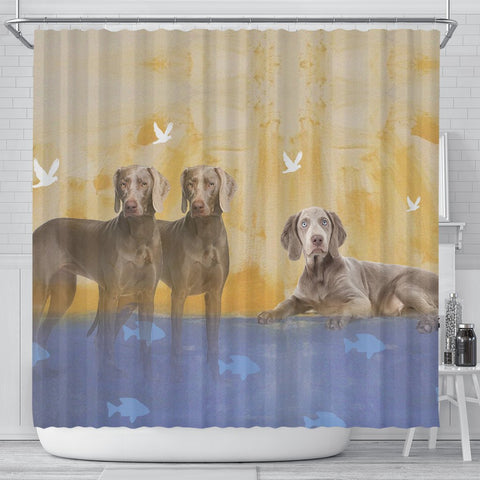 Amazing Weimaraner Dog Print Shower Curtain-Free Shipping