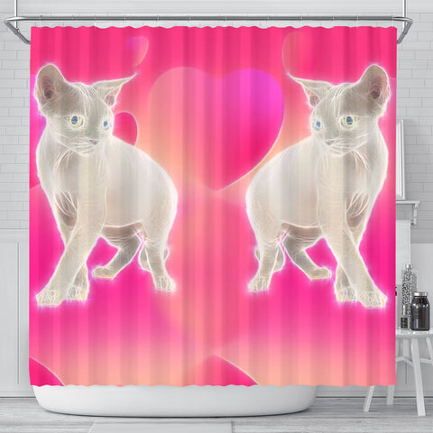 Devon Rex Cat Print Shower Curtain-Free Shipping