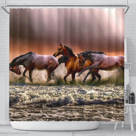 Amazing Horse Painting Print Shower Curtains-Free Shipping