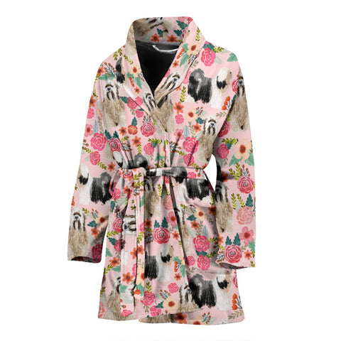 Tibetan Terrier Dog Floral Print Women's Bath Robe-Free Shipping