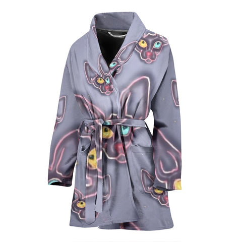 Amazing Devon Rex Cat Pattern Print Women's Bath Robe-Free Shipping