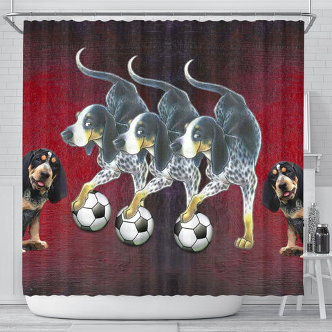 Bluetick Coonhound Playing football Print Shower Curtain-Free Shipping