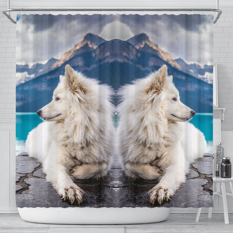Amazing Samoyed Dog Print Shower Curtains-Free Shipping