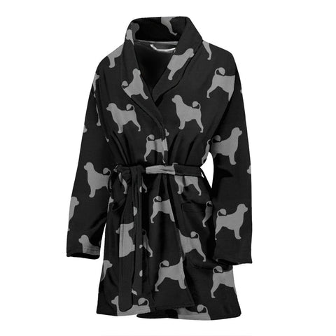 Portuguese Water Dog Pattern Print Women's Bath Robe-Free Shipping