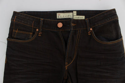 ACHT Jeans BROWN WASH COTTON STRETCH SLIM FIT JEANS
