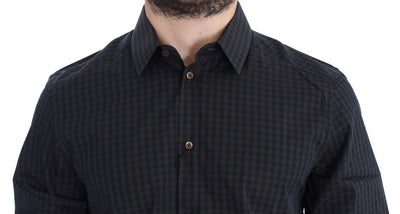 Dolce & Gabbana Shirts BLUE CHECKERED SLIM FIT GOLD CASUAL SHIRT