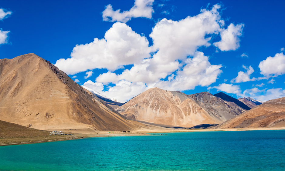 Pangong Tso Lake along borders of India and Tibet