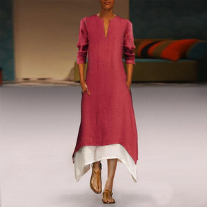 Flash Sale Cotton/Linen Contrast Color Casual  Maxi Dress With Pocket