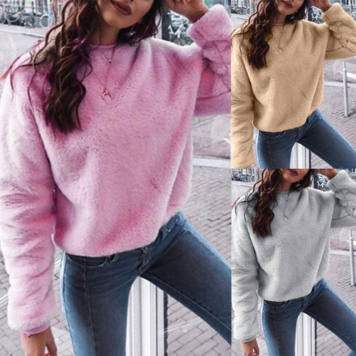 Round Neck  Loose Fitting  Plain  Sweatshirts