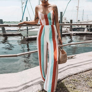 Backless Bowknot Cutout  Bust Darts  Striped Jumpsuits