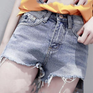 Torn Edge Denim Shorts Pants
