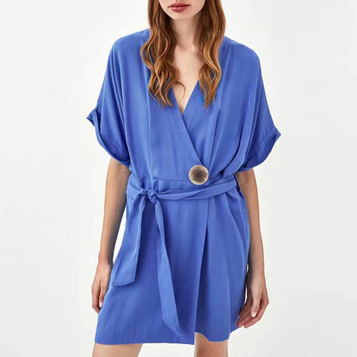 Pure Color Deep V Collar Bow-Knot Mini Shift Dress