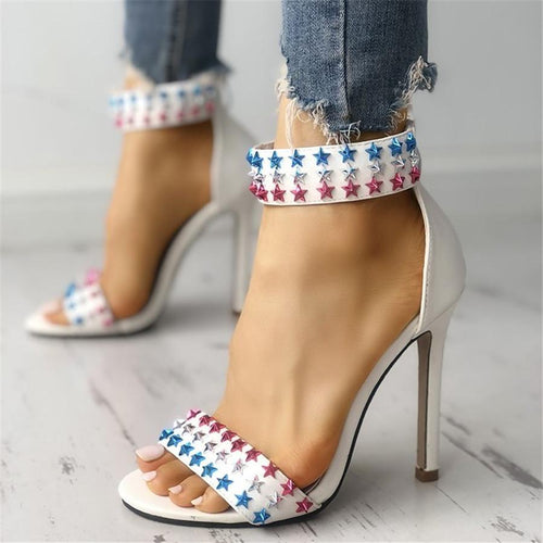 Star Embellished Single Strap High-heeled Sandals