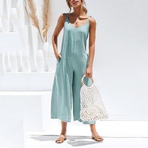 Fashion Halter Sleeveless Wide Leg Jumpsuit