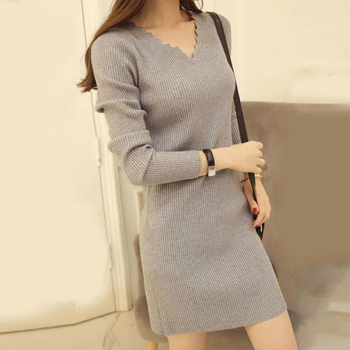 V Neck  Plain Shift Dress