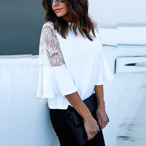 White Lace Long Sleeves Blouse Tops