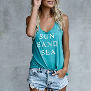 Scoop Neck  Racerback  Letters Sleeveless Vests