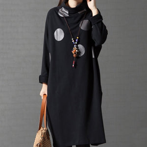 Turtleneck Pocket Polka Dot Shift Dress