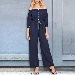 Half Sleeve Drawstring Off The Shoulder Sexy  Jumpsuits