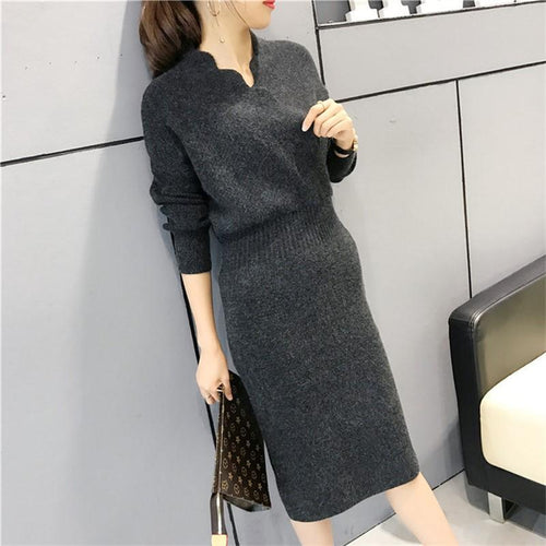 Casual sexy slim Shown   thin Knitted woolen Maxi dresser