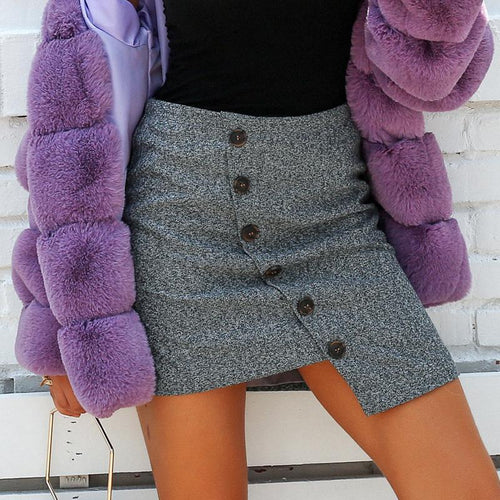 Temperament Woolen Asymmetrical Skirt