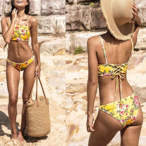 Yellow Printed Crushed Flowers Double Sided Bellyband Multi-Rope Bikini