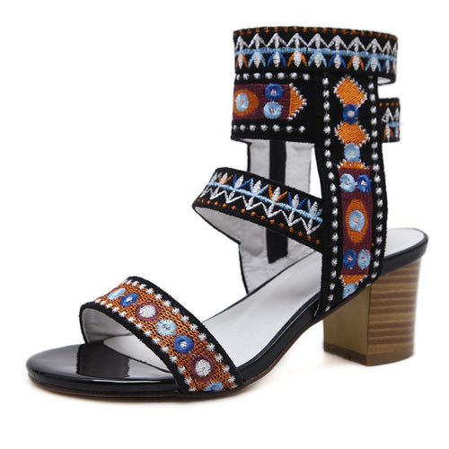 Women's Shoes Bohemian High Heel Embroidered Chunky Heel Sandals