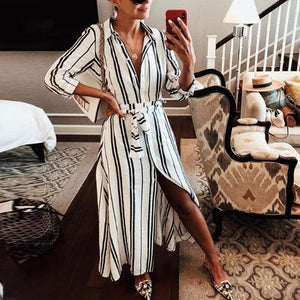 Lapel Stripes Long Sleeve Belt Casual Dress