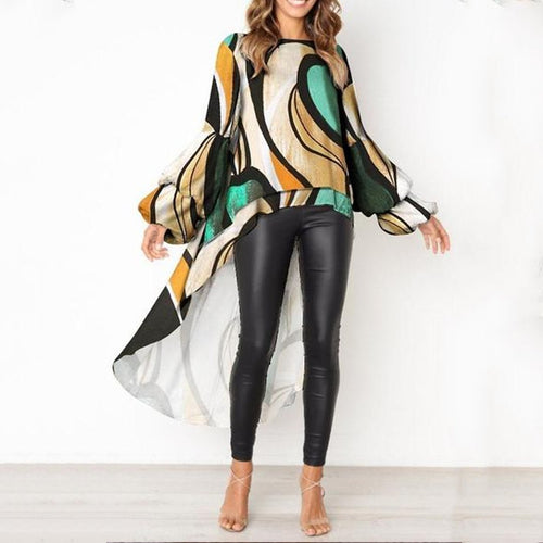 Round Collar Fashion Loose Long-Sleeved Print Top