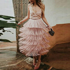 Fashion Tassel Plain Skirt